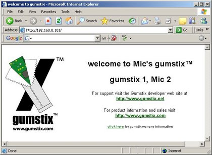 Webpage from gumstix boa web server